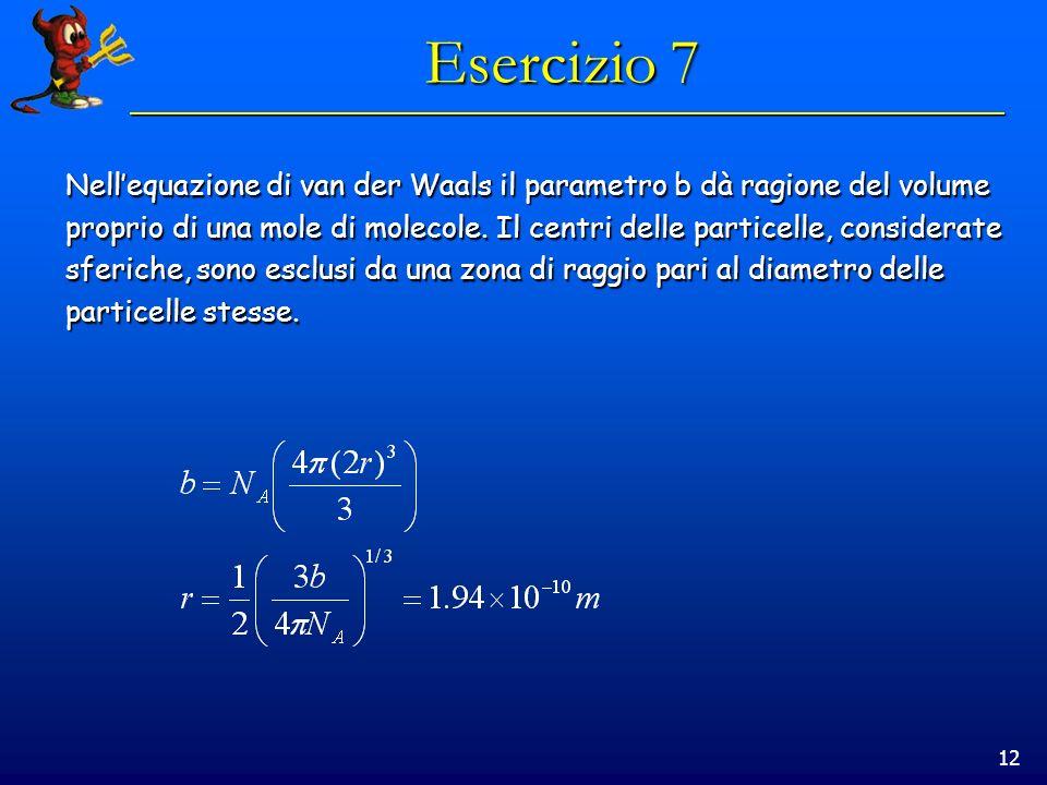 Esercizio 7 Nell'equazione di van der Waals il parametro b dà ragione del volume.