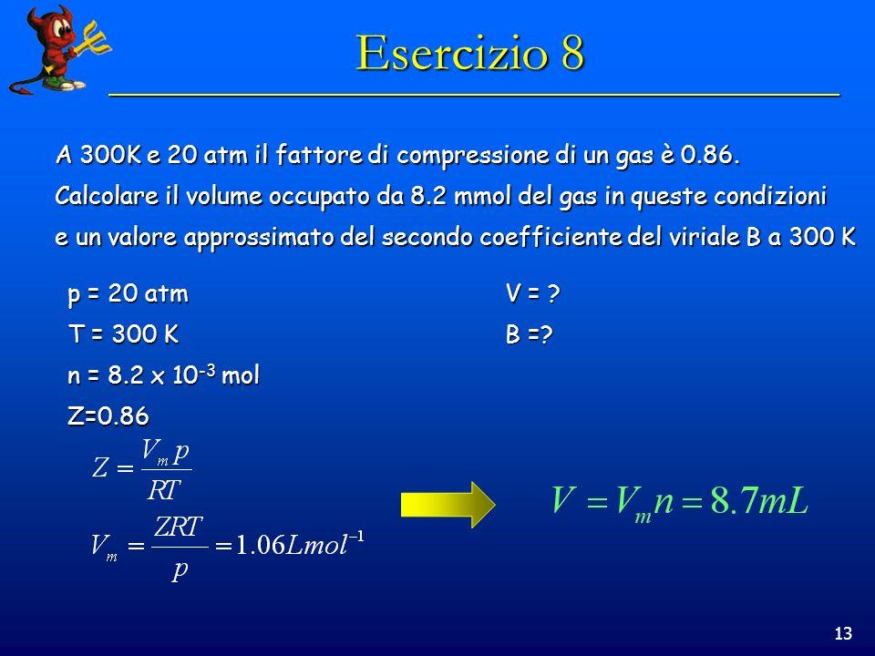 Esercizio 8 A 300K e 20 atm il fattore di compressione di un gas è 0.86. Calcolare il volume occupato da 8.2 mmol del gas in queste condizioni.