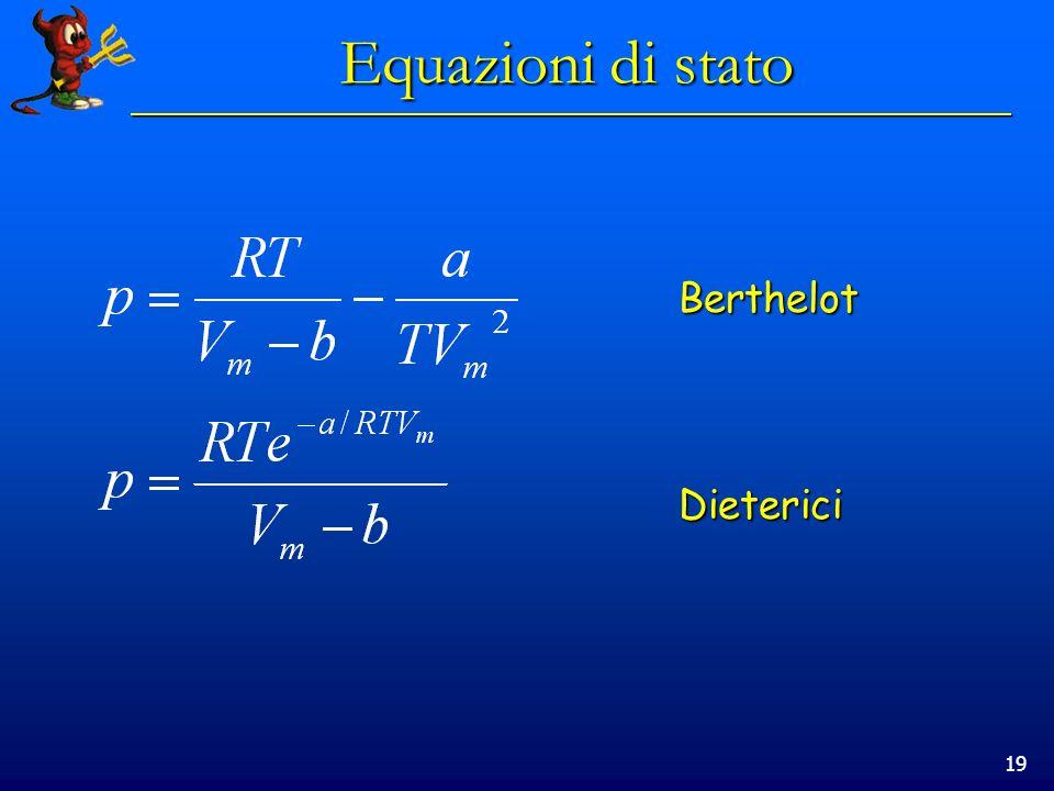 Equazioni di stato Berthelot Dieterici