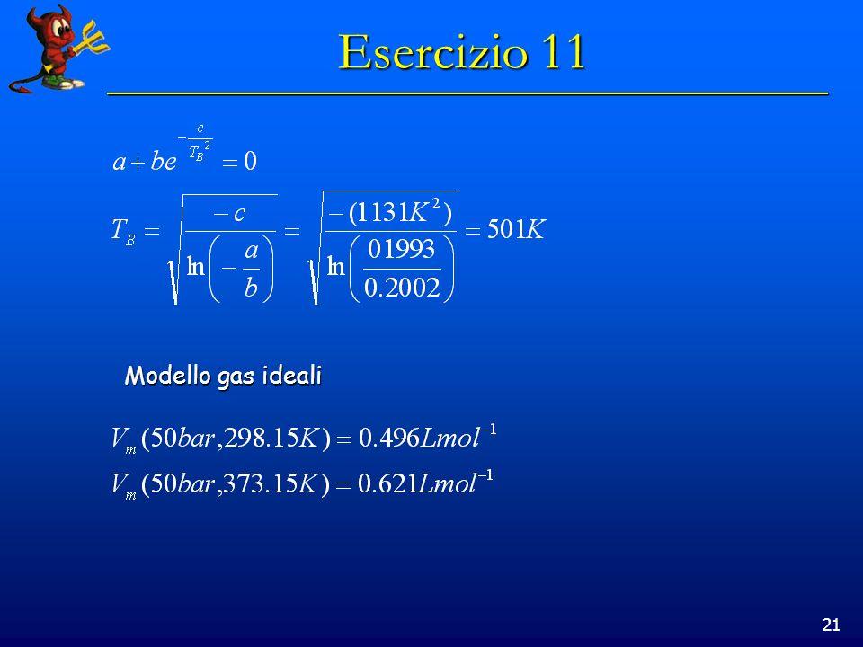 Esercizio 11 Modello gas ideali
