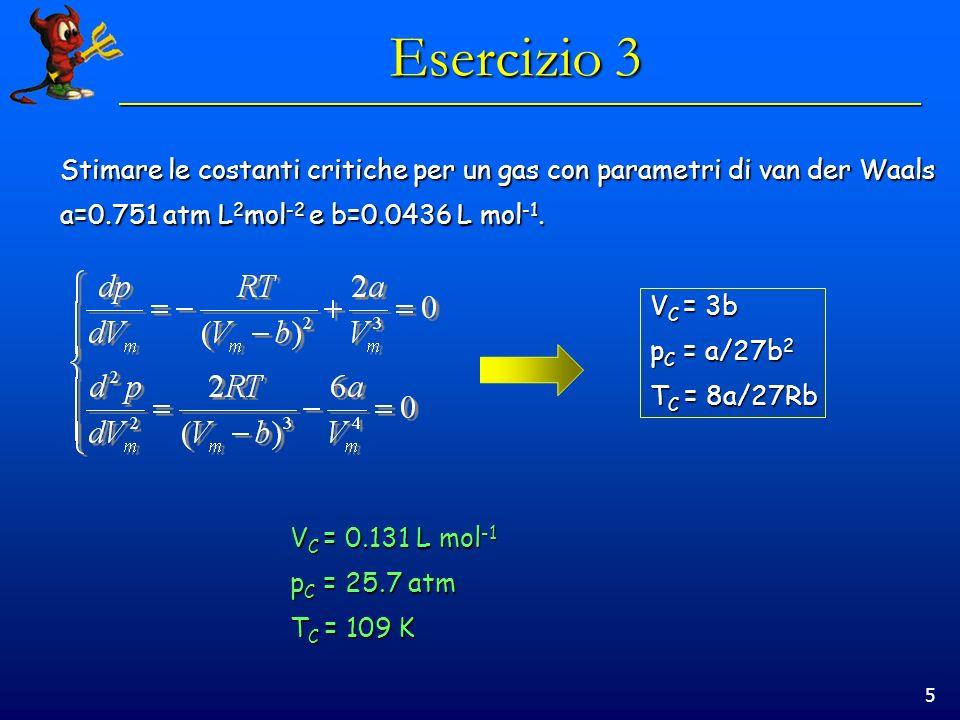 Esercizio 3 Stimare le costanti critiche per un gas con parametri di van der Waals. a=0.751 atm L2mol-2 e b=0.0436 L mol-1.