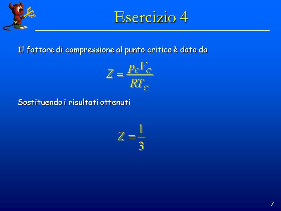 Esercizio 4 Il fattore di compressione al punto critico è dato da