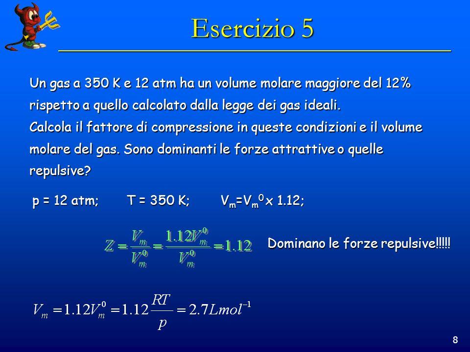 Esercizio 5 Un gas a 350 K e 12 atm ha un volume molare maggiore del 12% rispetto a quello calcolato dalla legge dei gas ideali.