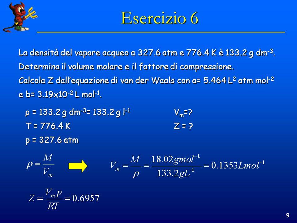 Esercizio 6 La densità del vapore acqueo a 327.6 atm e 776.4 K è 133.2 g dm-3. Determina il volume molare e il fattore di compressione.