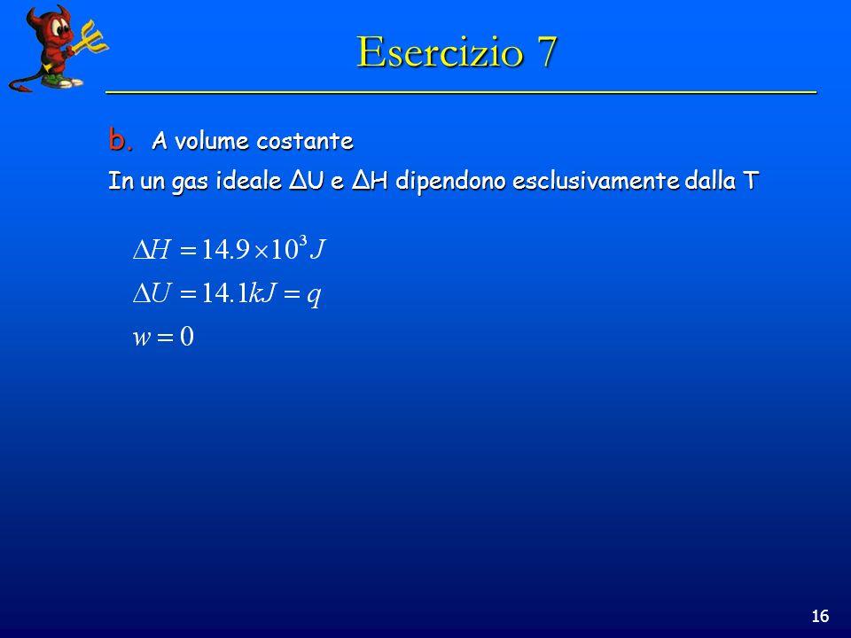 Esercizio 7 A volume costante