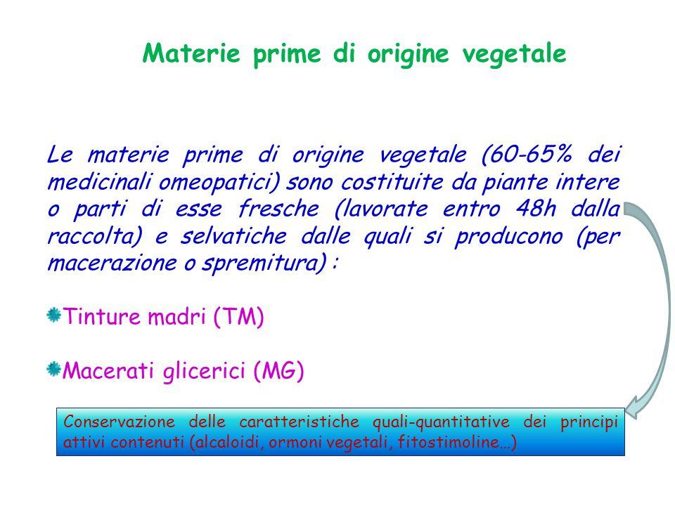 Materie prime di origine vegetale