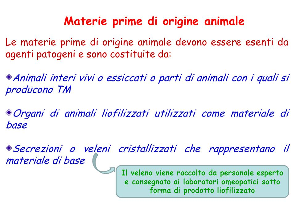 Materie prime di origine animale