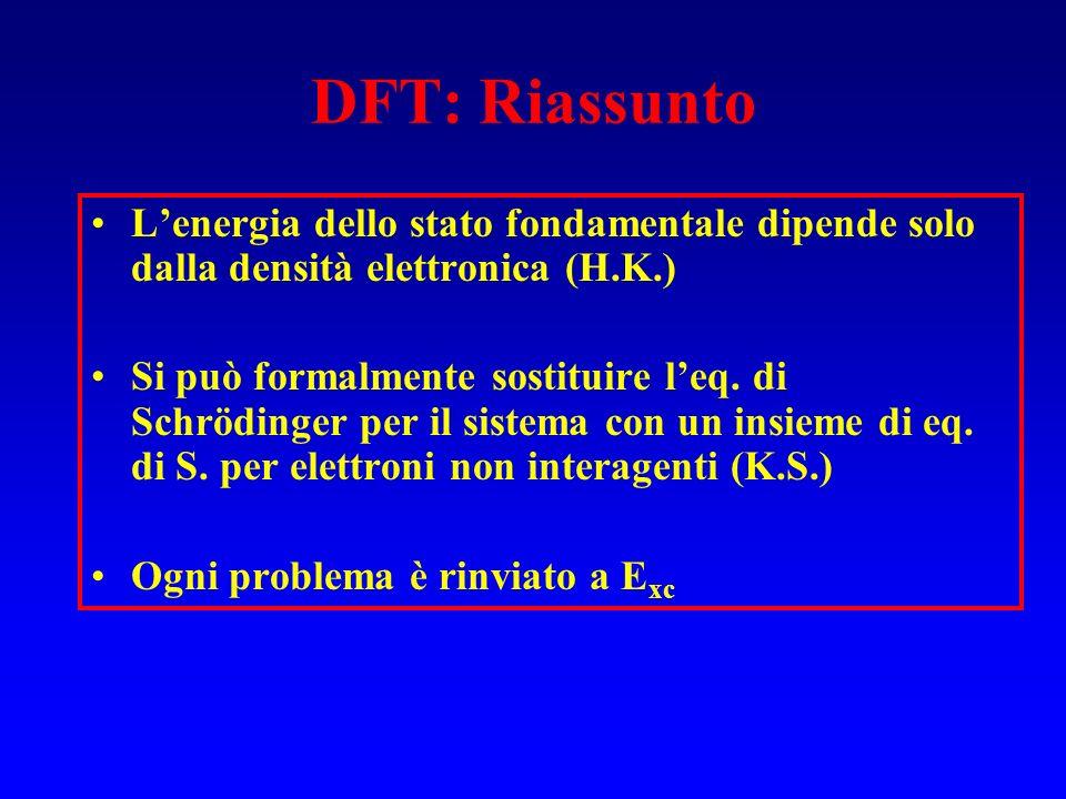 DFT: Riassunto L'energia dello stato fondamentale dipende solo dalla densità elettronica (H.K.)