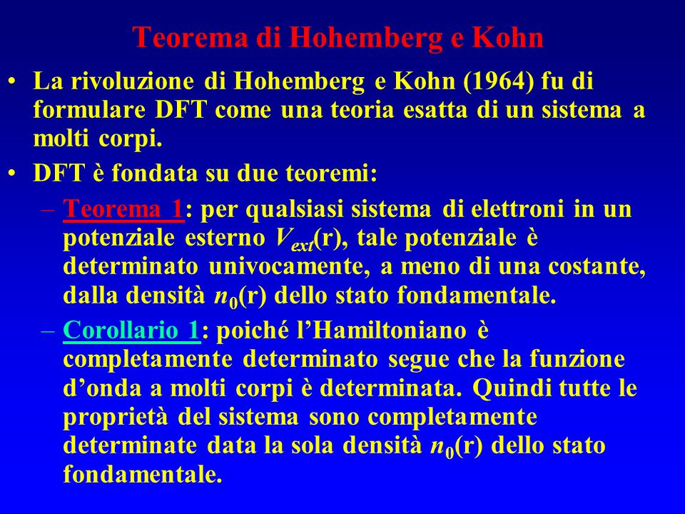 Teorema di Hohemberg e Kohn