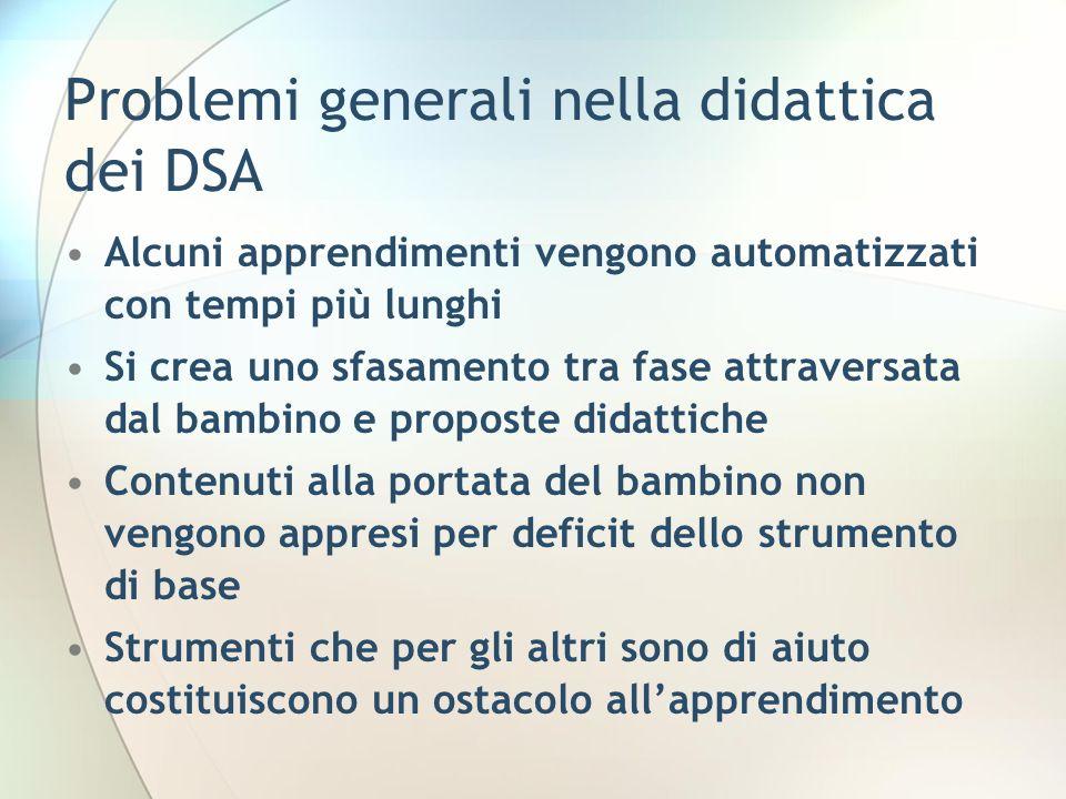 Problemi generali nella didattica dei DSA