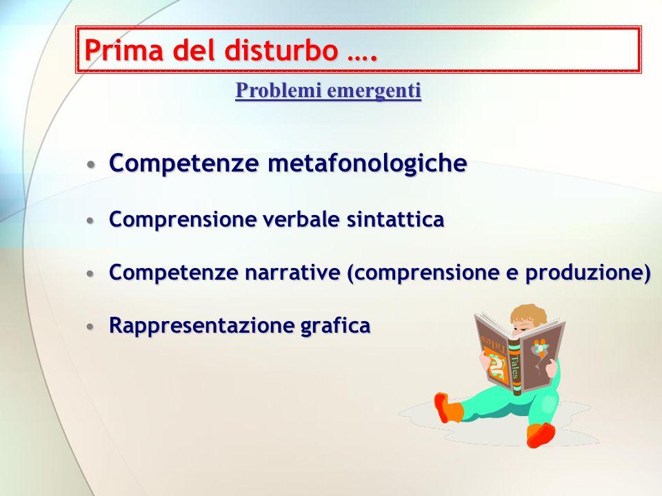Prima del disturbo …. Competenze metafonologiche Problemi emergenti
