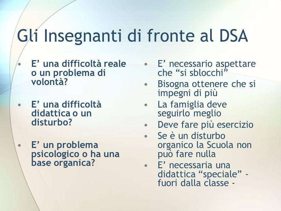 Gli Insegnanti di fronte al DSA