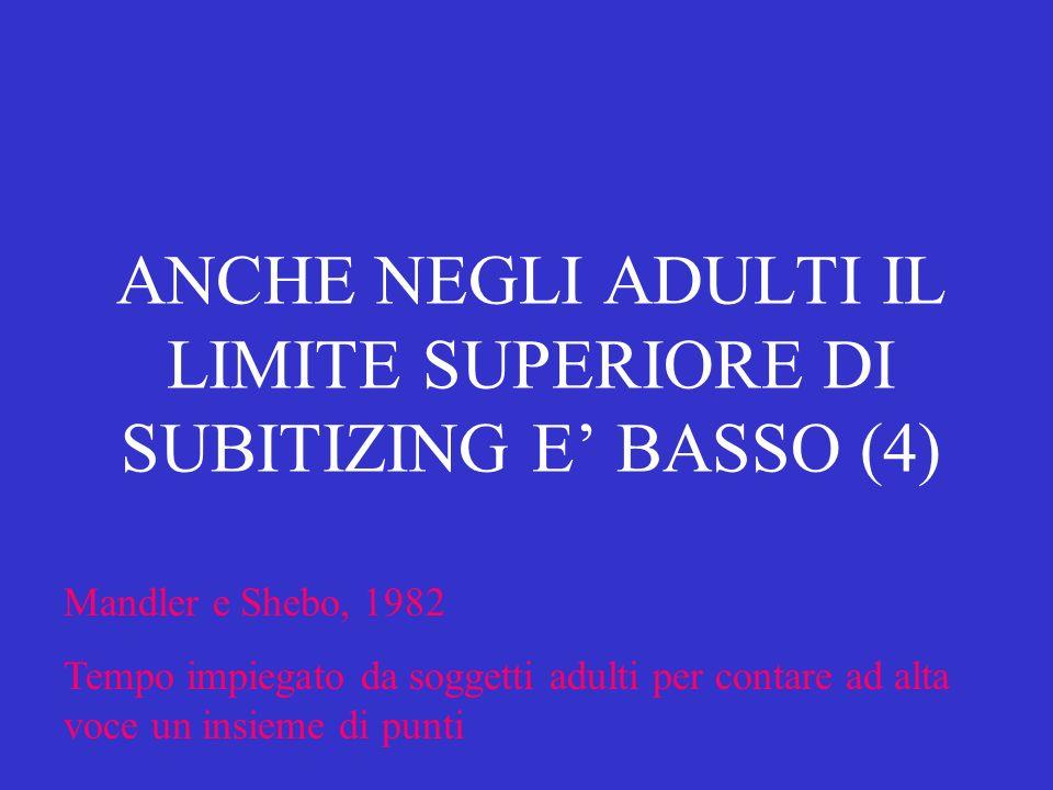 ANCHE NEGLI ADULTI IL LIMITE SUPERIORE DI SUBITIZING E' BASSO (4)
