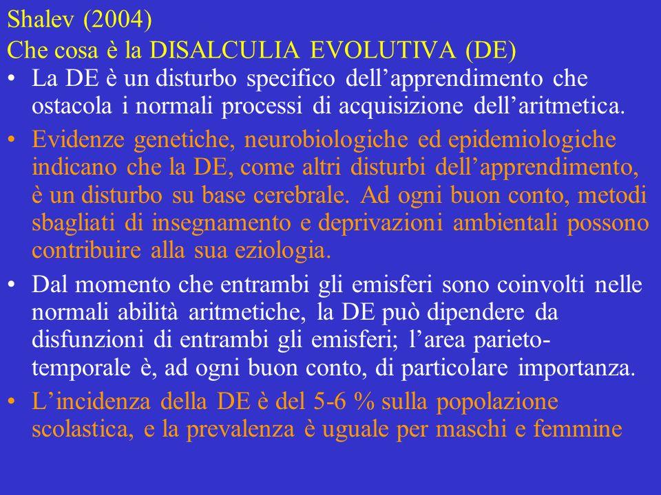Shalev (2004) Che cosa è la DISALCULIA EVOLUTIVA (DE)