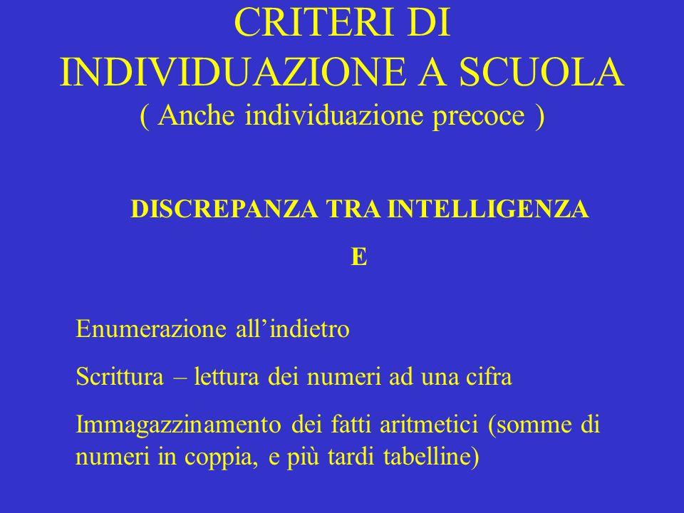 CRITERI DI INDIVIDUAZIONE A SCUOLA ( Anche individuazione precoce )