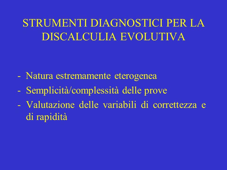 STRUMENTI DIAGNOSTICI PER LA DISCALCULIA EVOLUTIVA