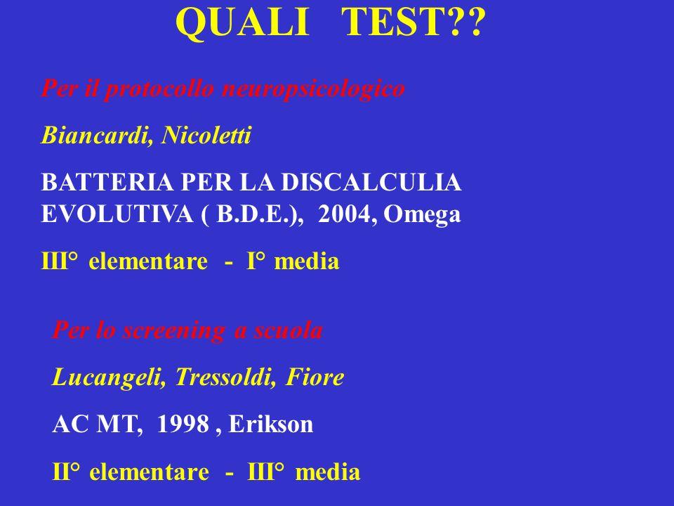 QUALI TEST Per il protocollo neuropsicologico Biancardi, Nicoletti