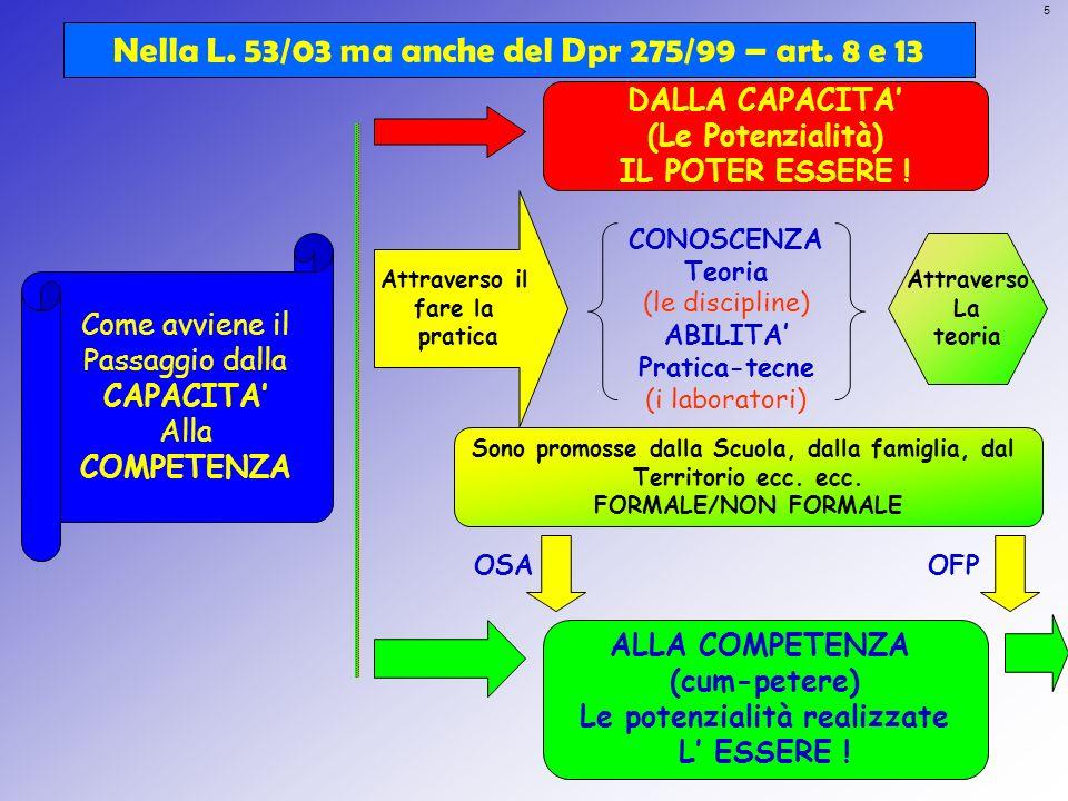 Nella L. 53/03 ma anche del Dpr 275/99 – art. 8 e 13