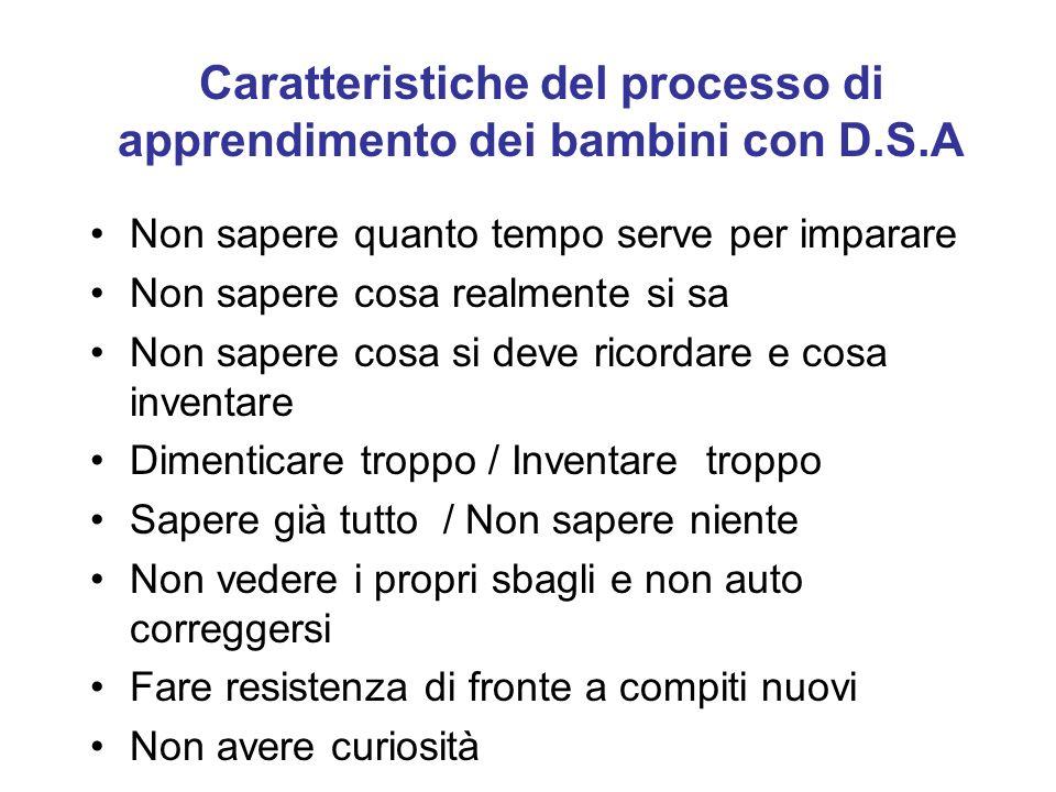 Caratteristiche del processo di apprendimento dei bambini con D.S.A