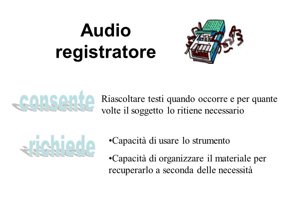 Audio registratore consente richiede