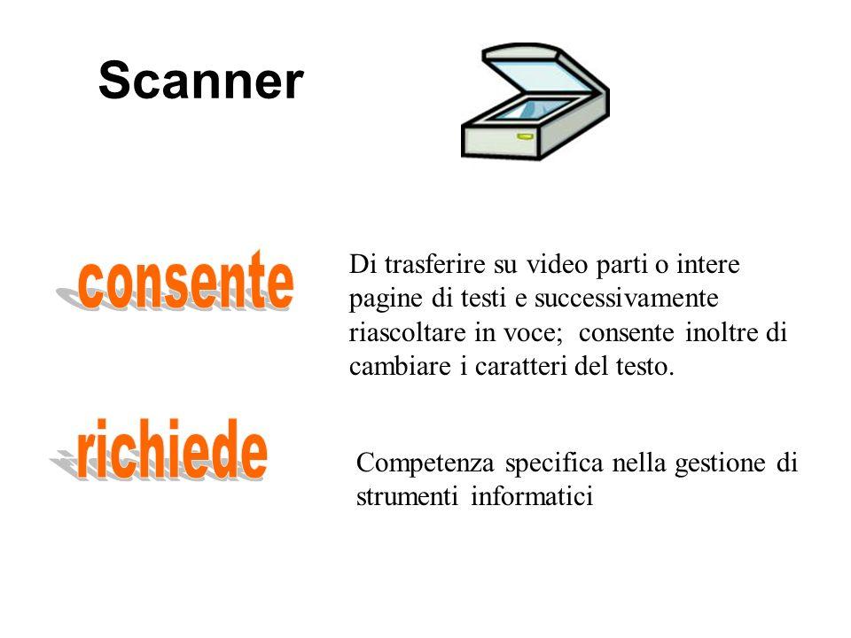 Scanner consente richiede