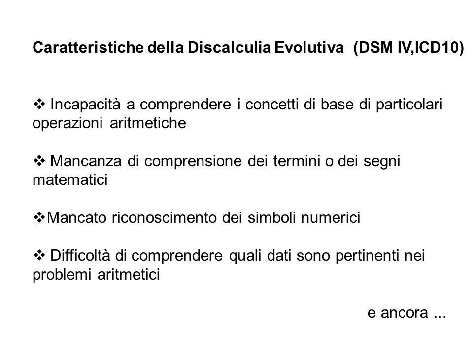 Caratteristiche della Discalculia Evolutiva (DSM IV,ICD10) v Incapacità a comprendere i concetti di base di particolari operazioni aritmetiche.