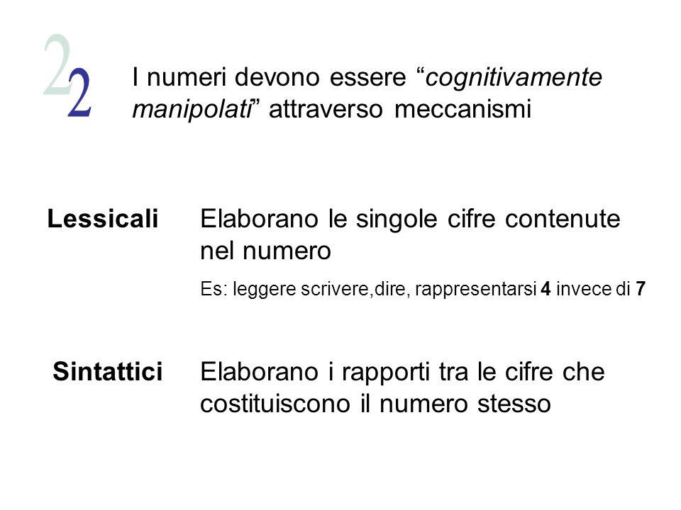 I numeri devono essere cognitivamente manipolati attraverso meccanismi