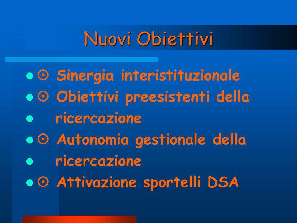 Nuovi Obiettivi  Sinergia interistituzionale