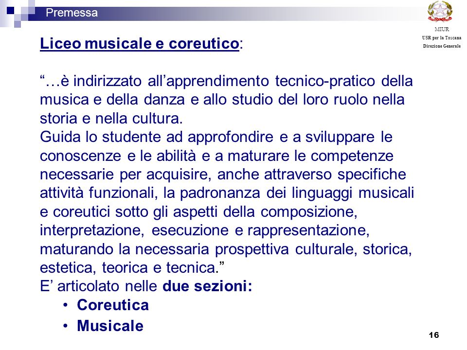 Liceo musicale e coreutico: