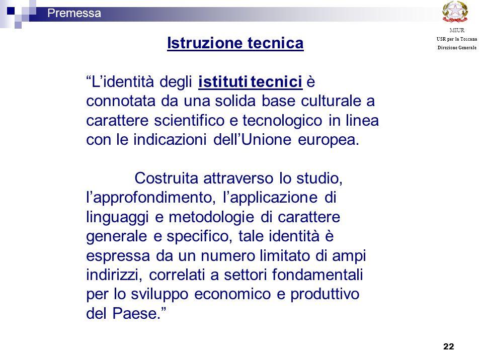 MIUR USR per la Toscana. Direzione Generale. Premessa. Istruzione tecnica.