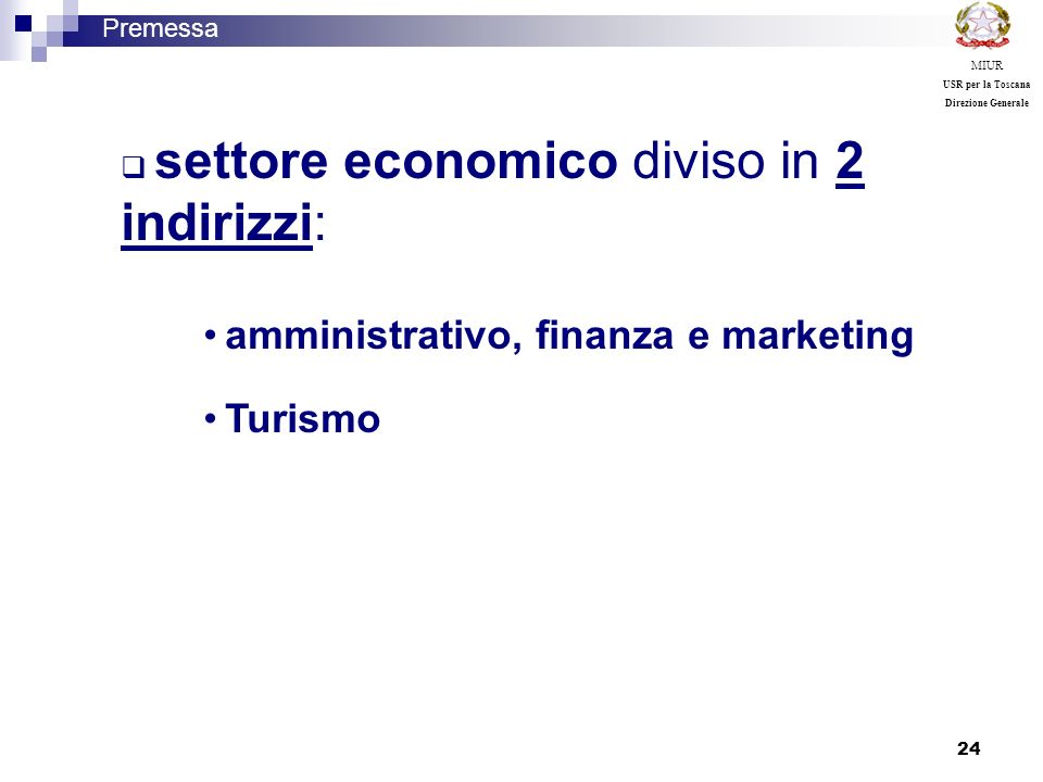 amministrativo, finanza e marketing Turismo