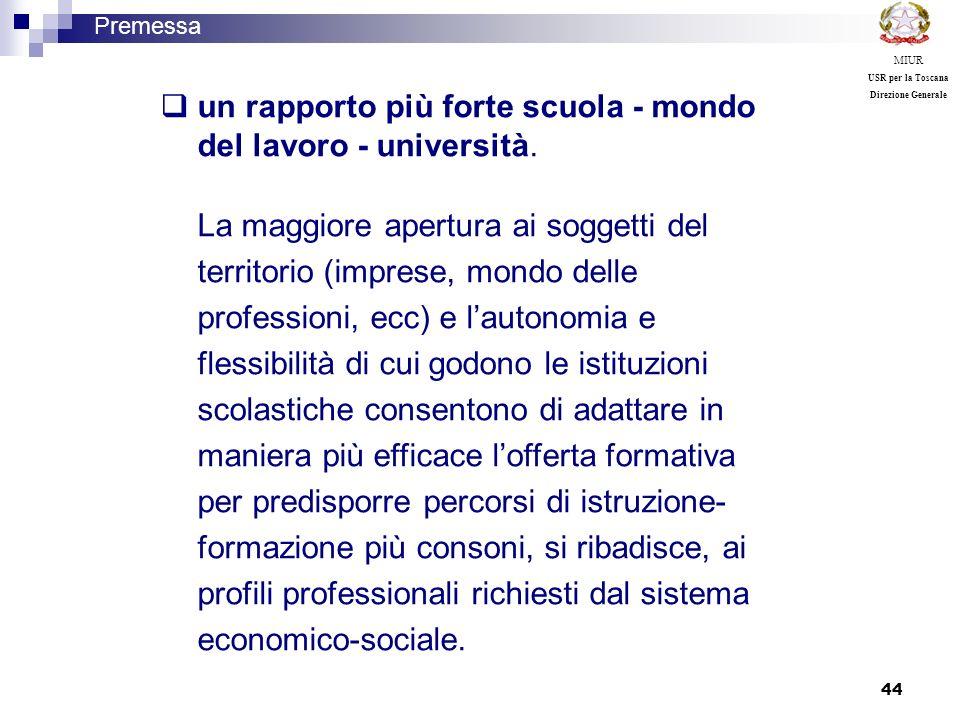 un rapporto più forte scuola - mondo del lavoro - università.