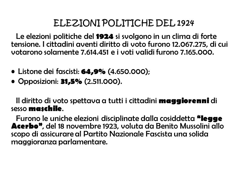 ELEZIONI POLITICHE DEL 1924