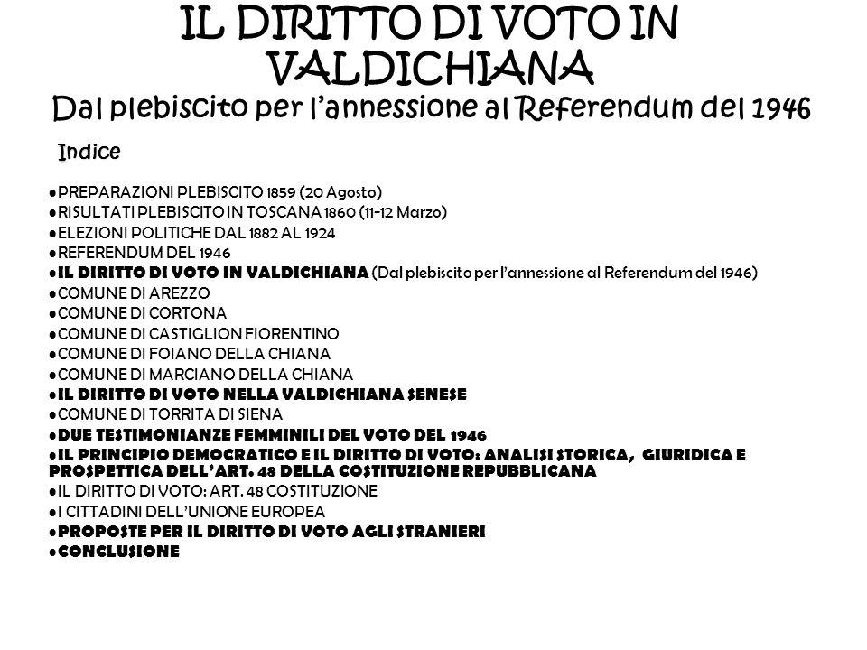 IL DIRITTO DI VOTO IN VALDICHIANA Dal plebiscito per l'annessione al Referendum del 1946