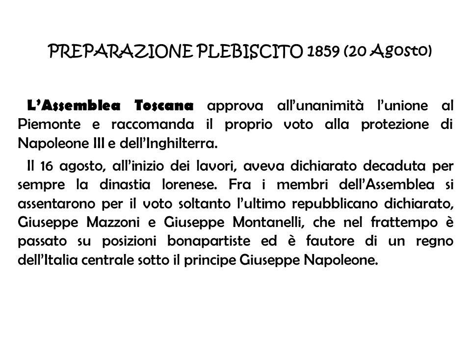 PREPARAZIONE PLEBISCITO 1859 (20 Agosto)