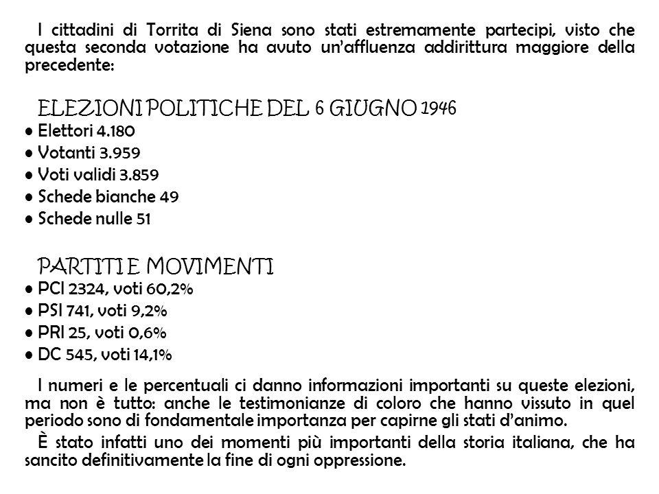 I cittadini di Torrita di Siena sono stati estremamente partecipi, visto che questa seconda votazione ha avuto un'affluenza addirittura maggiore della precedente: