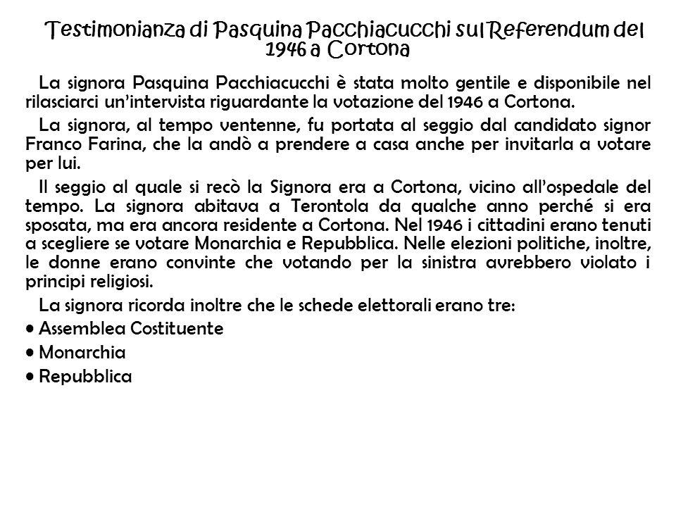 Testimonianza di Pasquina Pacchiacucchi sul Referendum del 1946 a Cortona