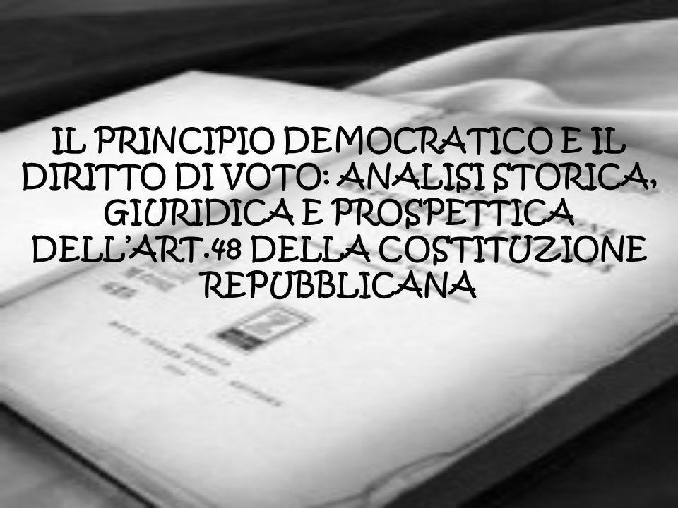IL PRINCIPIO DEMOCRATICO E IL DIRITTO DI VOTO: ANALISI STORICA, GIURIDICA E PROSPETTICA DELL'ART.48 DELLA COSTITUZIONE REPUBBLICANA