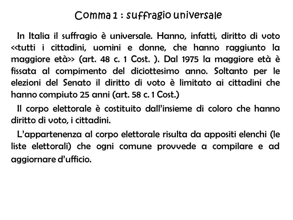 Comma 1 : suffragio universale
