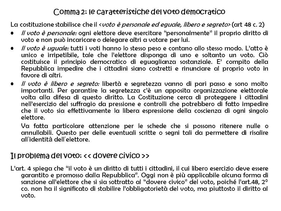 Comma 2: le caratteristiche del voto democratico