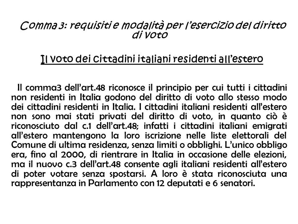 Comma 3: requisiti e modalità per l'esercizio del diritto di voto
