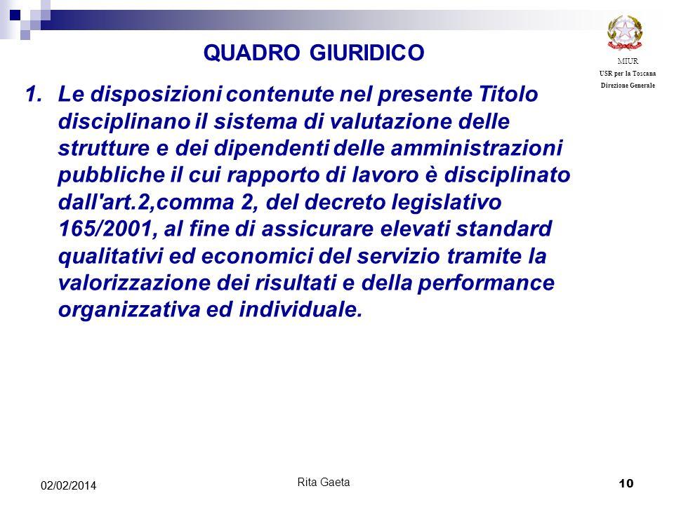 MIUR USR per la Toscana. Direzione Generale. QUADRO GIURIDICO.