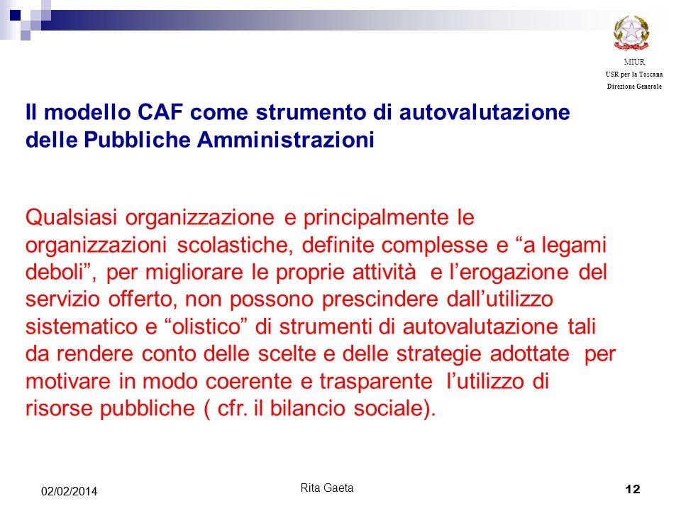 MIUR USR per la Toscana. Direzione Generale. Il modello CAF come strumento di autovalutazione delle Pubbliche Amministrazioni.