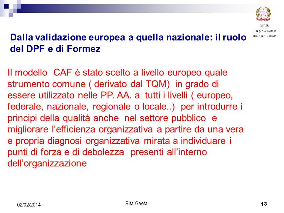 MIUR USR per la Toscana. Direzione Generale. Dalla validazione europea a quella nazionale: il ruolo del DPF e di Formez.