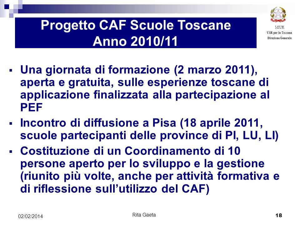 Progetto CAF Scuole Toscane Anno 2010/11