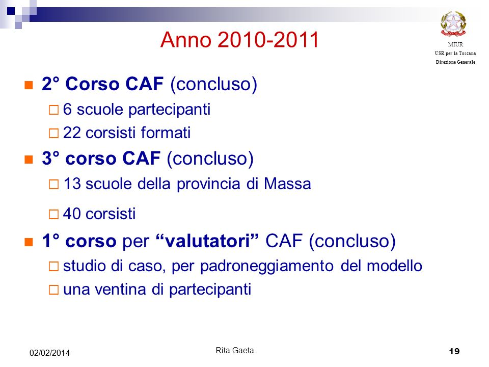 Anno 2010-2011 2° Corso CAF (concluso) 3° corso CAF (concluso)