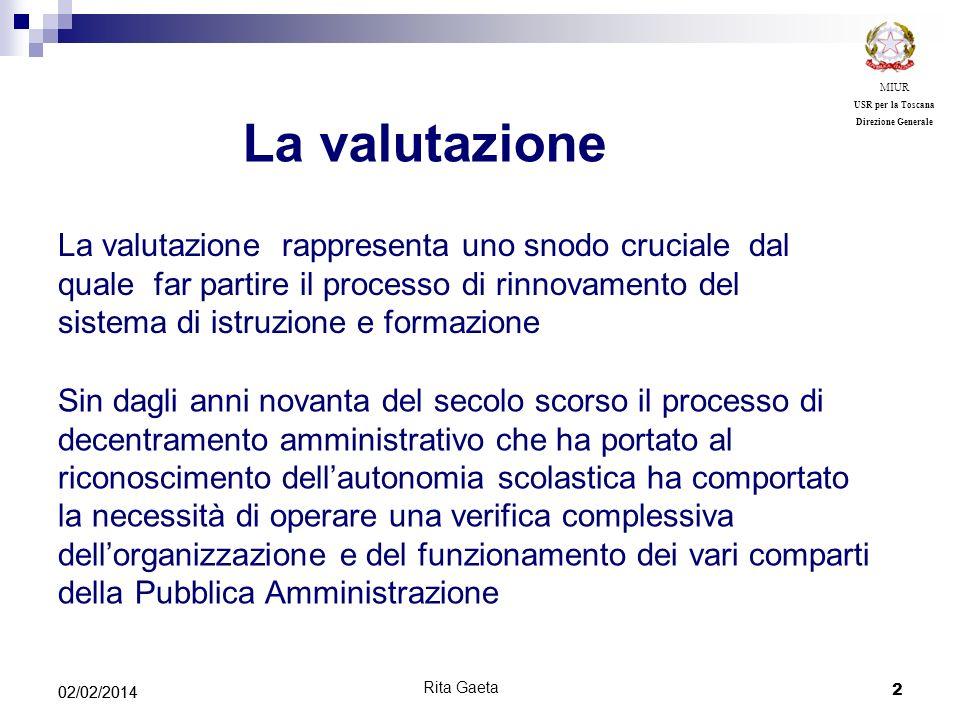 MIUR USR per la Toscana. Direzione Generale. La valutazione.
