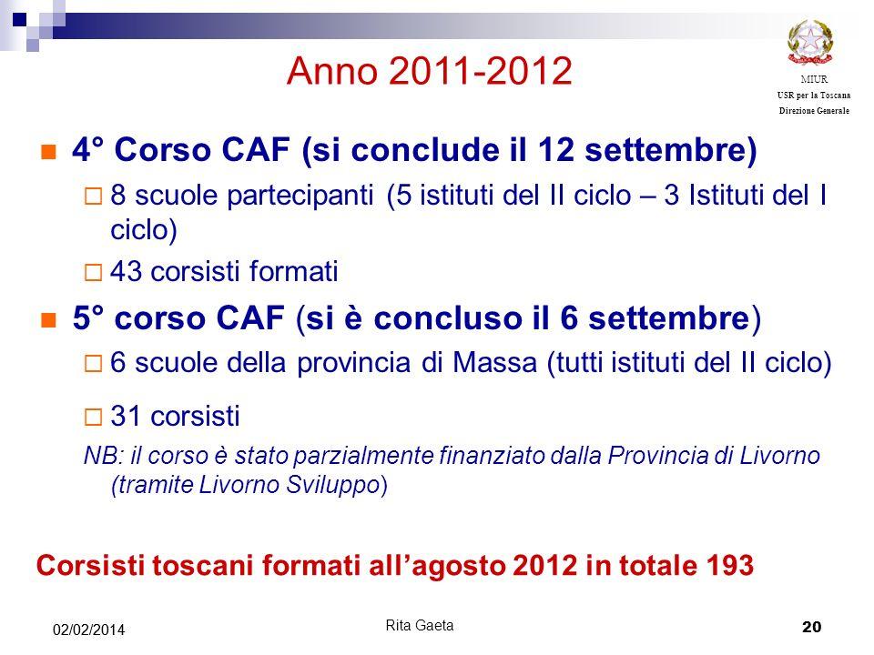 Anno 2011-2012 4° Corso CAF (si conclude il 12 settembre)