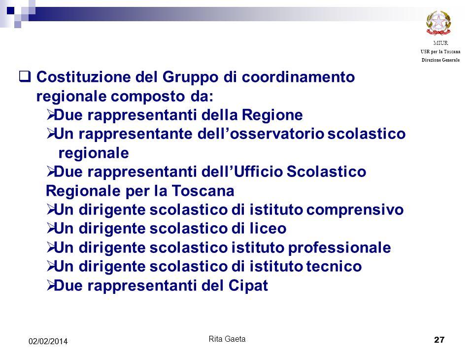 Costituzione del Gruppo di coordinamento regionale composto da: