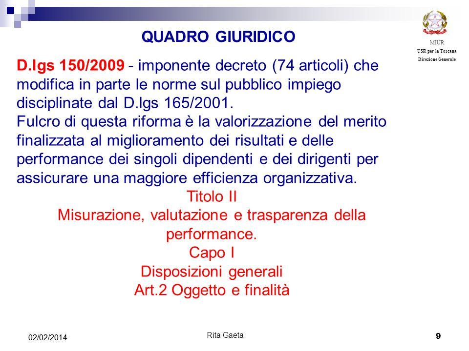 Misurazione, valutazione e trasparenza della performance. Capo I